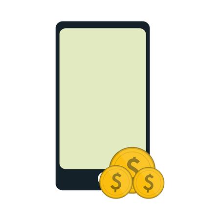 smartphone with coins symbol vector illustration graphic design Ilustração