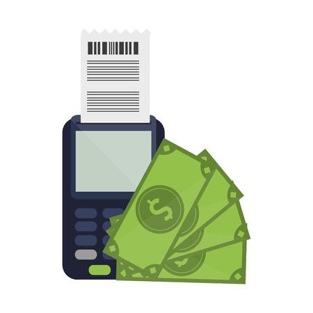 credit card reader and cash symbol vector illustration graphic design