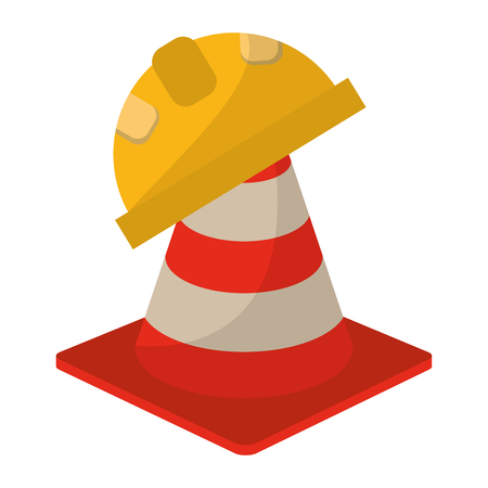 construction cone and helmet vector illustration graphic design