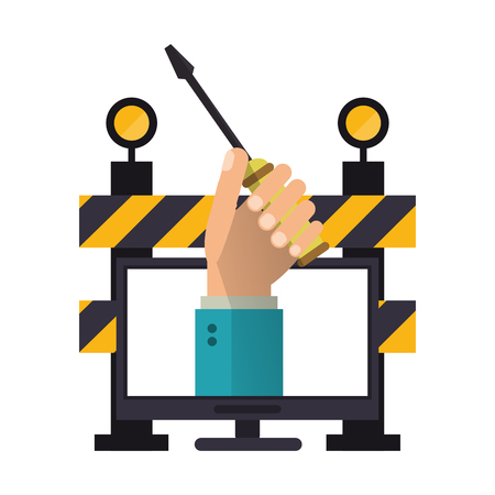 construction barrier and concrete drill vector illustration graphic design