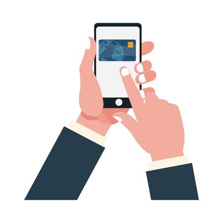 hands with smartphone on credit card vector illustration graphic design Ilustração