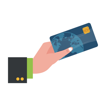 businessman hand with credit card symbol vector illustration graphic design