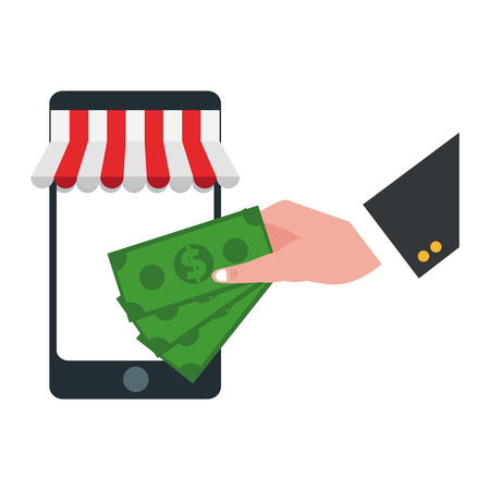 businessman hand with money and smartphone online store vector illustration graphic design