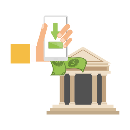 money transfer with smartphone to smartphone bank app vector illustration graphic design