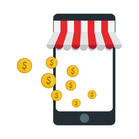 online shopping store with smartphone vector illustration graphic design  イラスト・ベクター素材