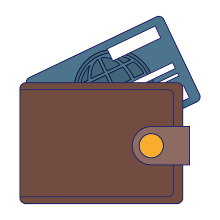 wallet with credit card symbol vector illustration graphic design Illustration