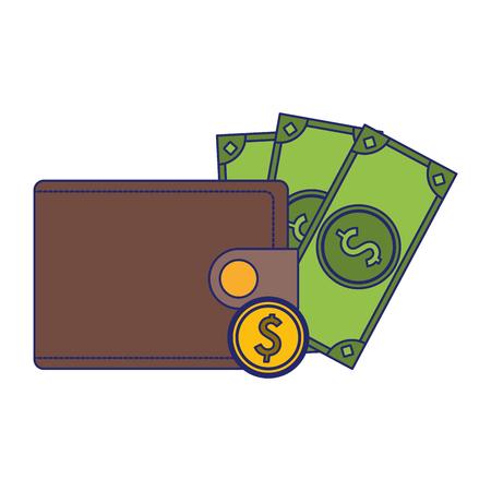 wallet with coin and cash symbol vector illustration graphic design Ilustração