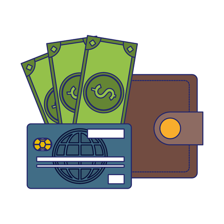 wallet with cash and credit card vector illustration graphic design