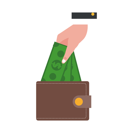 businessman hand with wallet and cash vector illustration graphic design