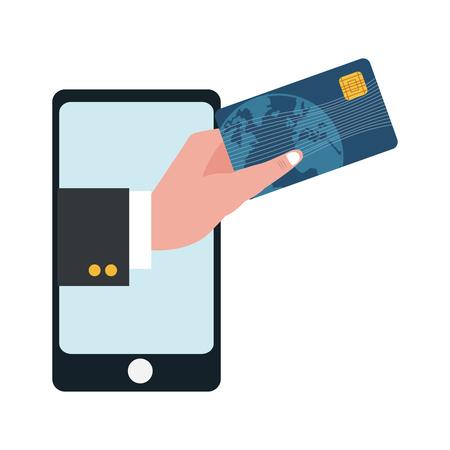 smartphone with businessman hand holding credit card vector illustration graphic design  イラスト・ベクター素材