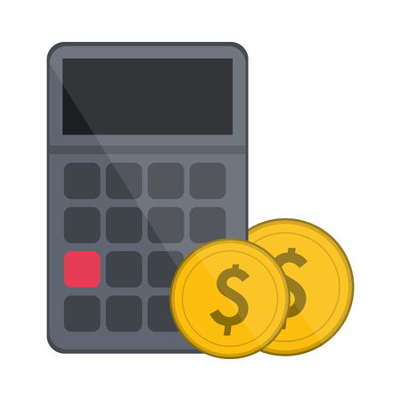 calculator with coins symbol vector illustration graphic design