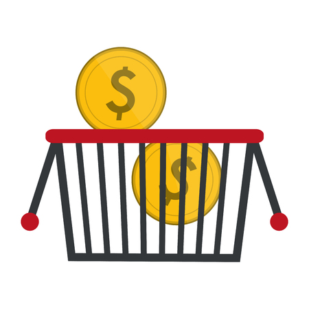 shopping basket with coins vector illustration graphic design
