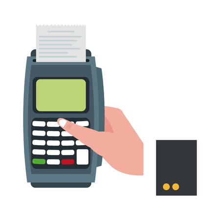 businessman han with card reader electronic payment vector illustration graphic design Illustration