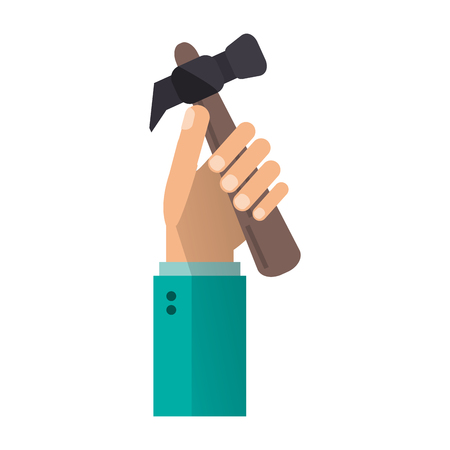 hand with hammer tool cartoon vector illustration graphic design