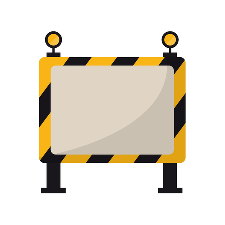 Construction barrier sign with lights vector illustration graphic design Çizim