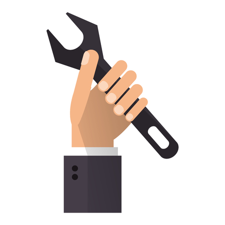 Hand with wrench symbol vector illustration graphic design Çizim