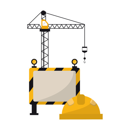 construction crane and helmet with blank sign vector illustration graphic design