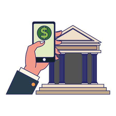 businessman hand with smartphone money payment and bank building vector illustration graphic design