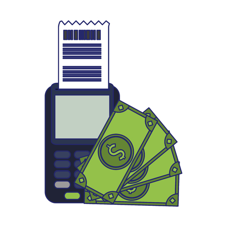 credit card reader and cash symbol vector illustration graphic design