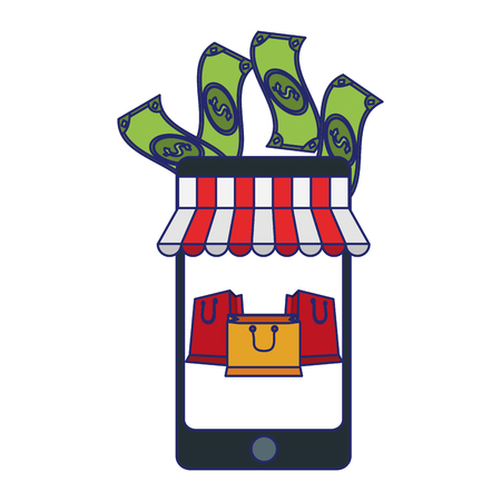 shopping online smartphone store with cash and bags vector illustration graphic design