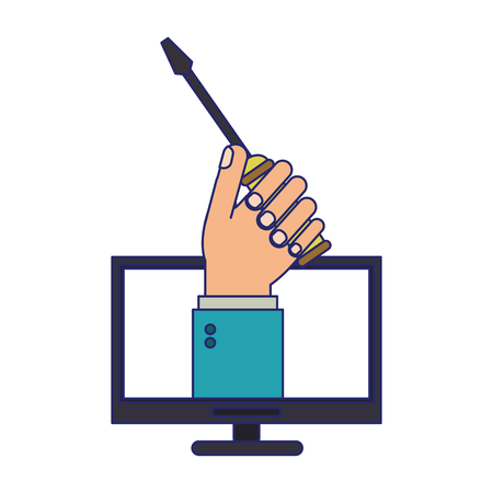 hand with screwdriver on computer screen vector illustration graphic design
