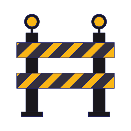 Construction barrier with lights equipment symbol vector illustration graphic design