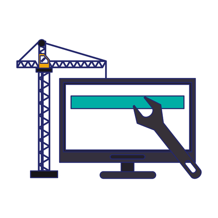 computer with construction crane and wrench vector illustration graphic design