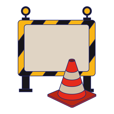 construction barrier and traffic cone vector illustration graphic design