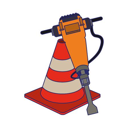 Construction cone and concrete drill vector illustration graphic design