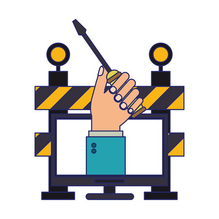 hand with screwdriver on screen and construction barrier vector illustration graphic design