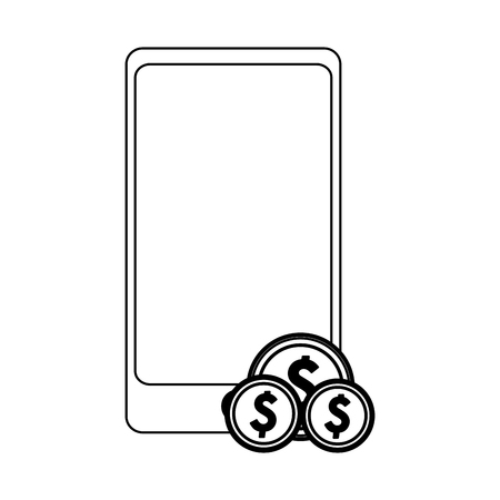 smartphone with coins symbol vector illustration graphic design Illustration