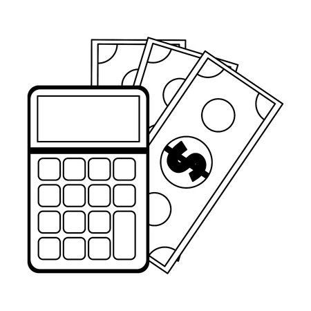 calculator and cash savings symbol vector illustration graphic design Illustration