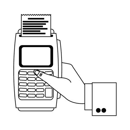 businessman han with card reader electronic payment vector illustration graphic design Ilustração