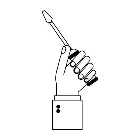 hand with screwdriver cartoon vector illustration graphic design