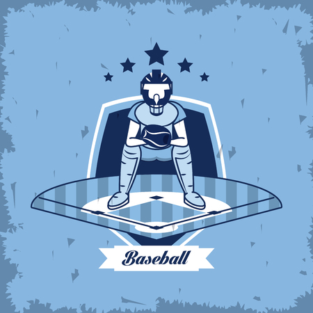 Baseball sport game championship card blue grunge background vector illustration graphic design