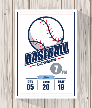 Baseball championship match card wooden background vector illustration graphic design Ilustrace