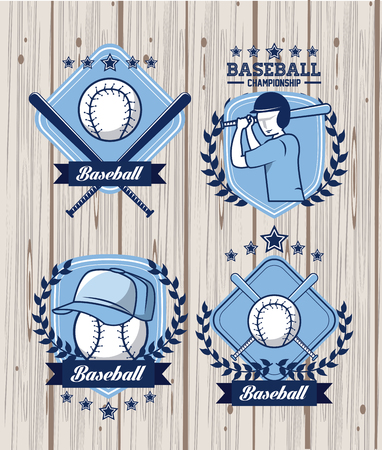 baseball sport game blue wooden emblems collection vector illustration graphic design Ilustrace