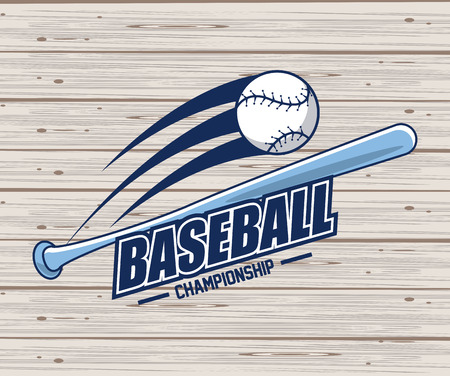 Baseball sport game championship card wooden background vector illustration graphic design