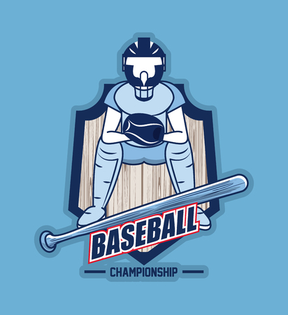 Baseball sport game championship card blue background vector illustration graphic design Ilustrace