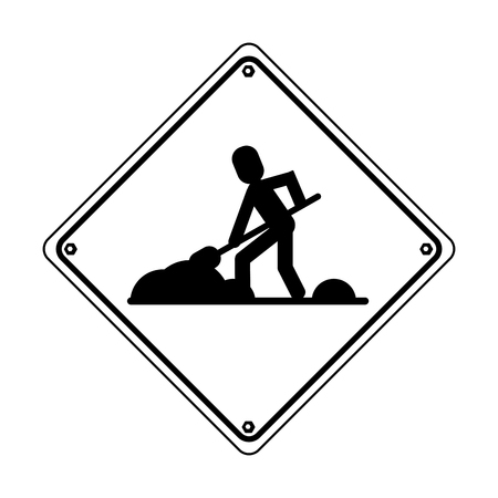 Construction road sign worker with shovel pictogram vector illustration graphic design