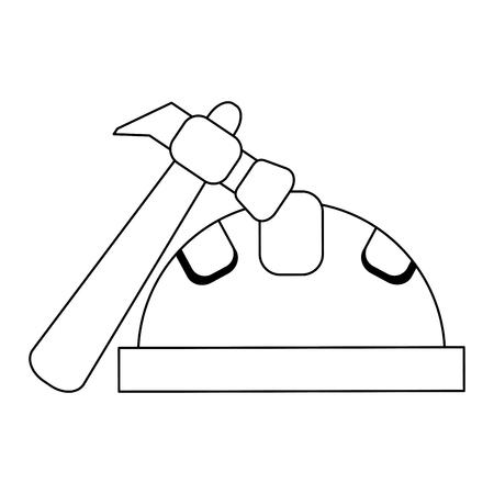 construction helmet and hammer vector illustration graphic design