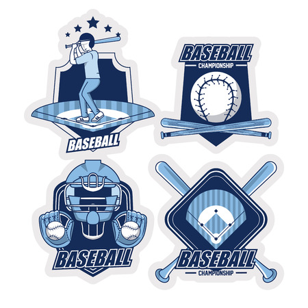 baseball sport game blue emblems collection vector illustration graphic design