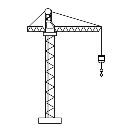 Construction crane with hook tower vector illustration graphic design