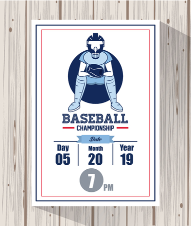 Baseball championship match card wooden background vector illustration graphic design  イラスト・ベクター素材