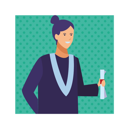 female graduation ceremony diploma vector illustration graphic design Illustration