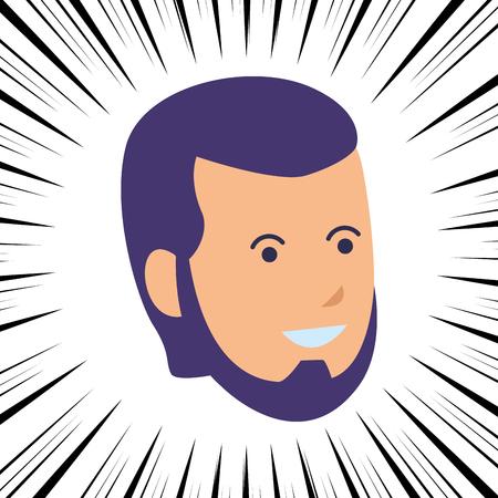 young man head beard comic vector illustration graphic design Illustration