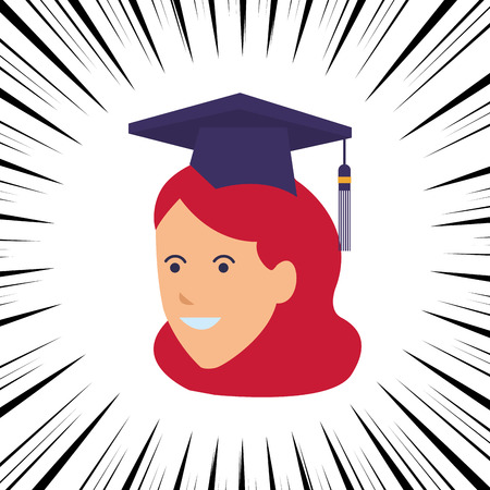young female head hat comic vector illustration graphic design