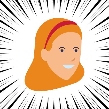 young woman head comic vector illustration graphic design Illustration