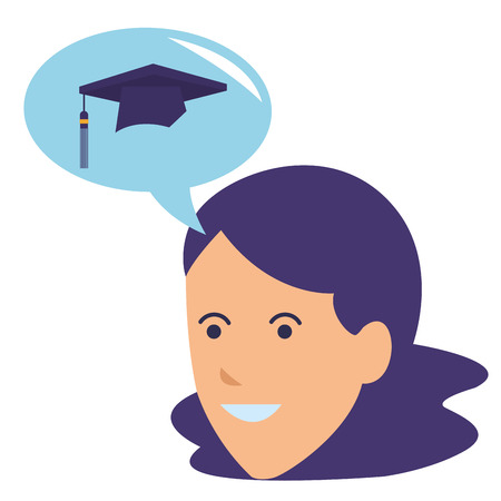 young woman thinking graduation vector illustration graphic design