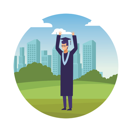 man graduation ceremony vector illustration graphic design